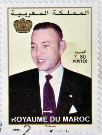 MOROCCO - CIRCA 2000: A stamp printed in Morocco shows the current King of Morocco, Mohamed VI, son of Hassan II, circa 2000