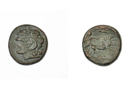 alexandros: Ancient greek coin on a white background. Alexander the Great and Apollo with the chariot of the sun
