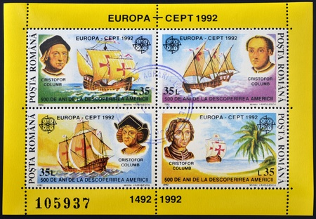 ROMANIA - CIRCA 1992: Four stamps printed in Romania shows image celebrating the 500th anniversary of the landing of Christopher Columbus in the Americas, circa 1992