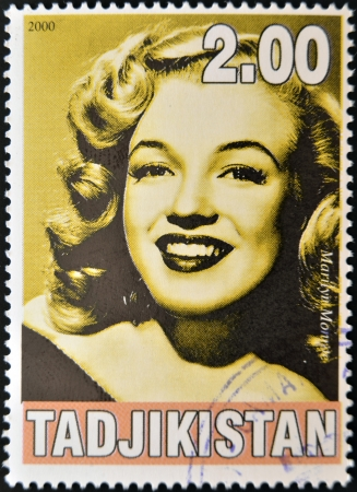 TAJIKISTAN - CIRCA 2000: A stamp printed in Tajikistan shows Marilyn Monroe, circa 2000