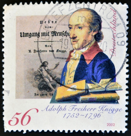 GERMANY - CIRCA 2002: A stamp printed in Germany shows Adolph Freiherr Knigge, circa 2002 Editorial
