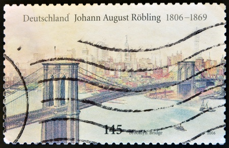 GERMANY - CIRCA 2006: A stamp printed in Germany shows Brooklyn Bridge, circa 2006