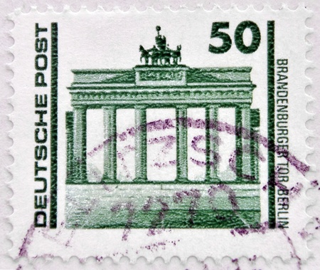 GERMANY - CIRCA 1990: A stamp printed in Germany, shows the Brandenburg Gate, circa 1990
