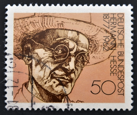 nobel: GERMANY - CIRCA 1978: A stamp printed in Germany shows Nobel Prize winner for literature Hermann Hesse, circa 1978