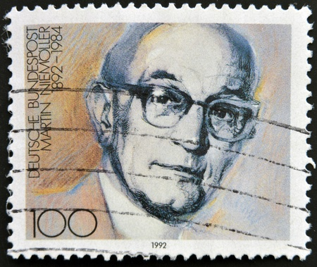 theologian: GERMANY - CIRCA 1992: stamp printed in Germany shows Martin Niemoller, Theologian, circa 1992.  Editorial