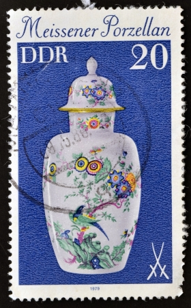 GERMANY - CIRCA 1979: A stamp printed in the Germany shows a China vase Meissner, circa 1979 Stock Photo - 14596848