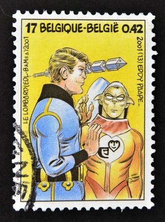 eddy: BELGIUM - CIRCA 2001: A stamp printed in Belgium shows the adventures of Luc Orient work of Eddy Paape, circa 2001