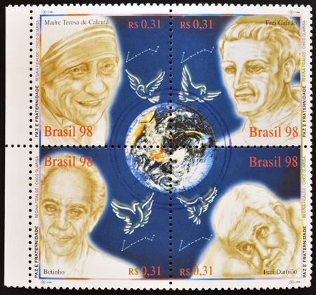 frei: BRAZIL - CIRCA 1998: Collection stamps dedicated to peace and fraternity, shows Mother Teresa of Calcutta, Frei Galvao, Betinho and Brother Damian, circa 1998