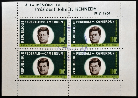 john fitzgerald kennedy: CAMEROON - CIRCA 1963: A stamp printed in Cameroon shows President John Fitzgerald Kennedy, circa 1963 Editorial