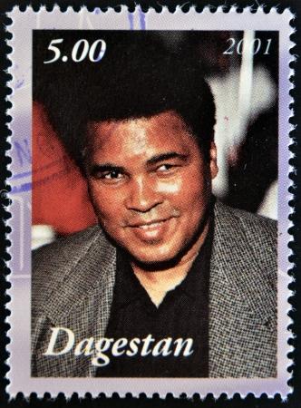 ali: DAGESTAN - CIRCA 2001: A stamp printed in Republic of Dagestan shows Muhammad Ali, circa 2001