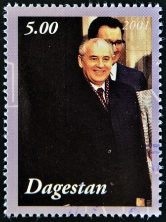 mikhail: DAGESTAN - CIRCA 2001: A stamp printed in Republic of Dagestan shows Mikhail Gorbachev, circa 2001 Editorial