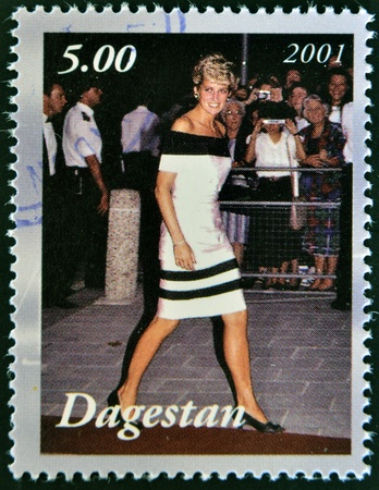 spencer: DAGESTAN - CIRCA 2001: A stamp printed in Republic of Dagestan shows The Lady Diana Spencer, circa 2001