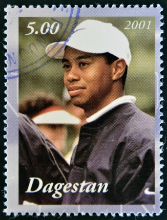 DAGESTAN - CIRCA 2001: A stamp printed in Republic of Dagestan shows Tiwer Woods, circa 2001