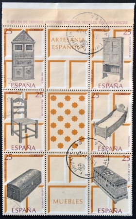 SPAIN - CIRCA 1991: Collection stamps dedicated to Spanish handicrafts, furniture, circa 1991
