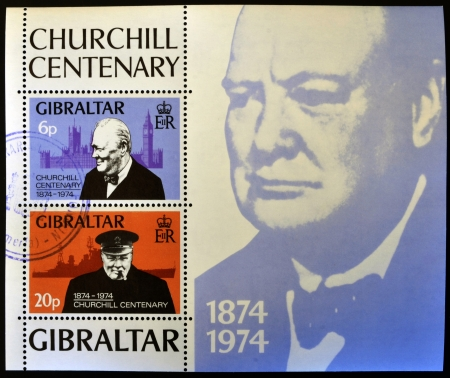 GIBRALTAR - CIRCA 1974 : Stamp printed in Gibraltar shows image of sir Winston Churchill, 1874-1974, circa 1974  Stock Photo - 14596850