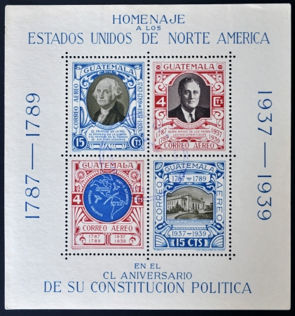 GUATEMALA - CIRCA 1939: four stamps to honor the United States of America on the anniversary of its Constitution, circa 1939