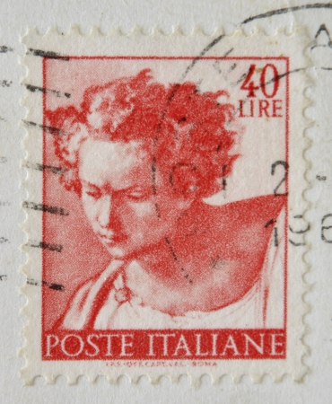 ITALY - CIRCA 1961: A stamp printed in Italy shows Daniel, fragment of painted ceiling of the Sistine Chapel, Vatican, fresco by Michelangelo, circa 1961