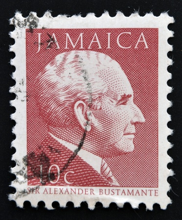 JAMAICA - CIRCA 1984: A stamp printed in Jamaica shows  portrait of Prime Minister Sir Alexander Bustamante, circa 1984.  Stock Photo - 14596838