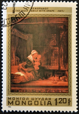 REMBRANDT: MONGOLIA - CIRCA 1981: A stamp printed in Mongolia shows the painting Holy Family with drape by Rembrandt, circa 1981  Editorial