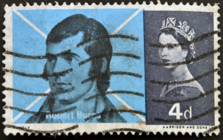 robert: UNITED KINGDOM - CIRCA 1966: a stamp printed in Great Britain shows image of Scots poet Robert Burns, circa 1966  Editorial