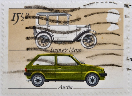 UNITED KINGDOM - CIRCA 1982: A stamp printed in Great Britain shows British cars Seven & Metro and Austin, circa 1982