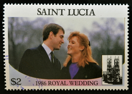 SAINT LUCIA - CIRCA 1986: A stamp printed in Saint Lucia shows  a portrait of Prince Andrew and his wife Sarah Margaret Ferguson, Duke of York,the royal wedding commemorative, circa 1986 Stock Photo - 14596859
