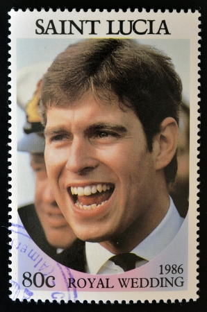 SAINT LUCIA - CIRCA 1986: A stamp printed in Saint Lucia shows  a portrait of Prince Andrew,the royal wedding commemorative, circa 1986 Stock Photo - 14596854