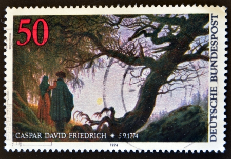caspar: GERMANY - CIRCA 1974: a stamp printed in Germany shows Man and Woman Looking at the Moon, by Caspar David Friedrich, circa 1974