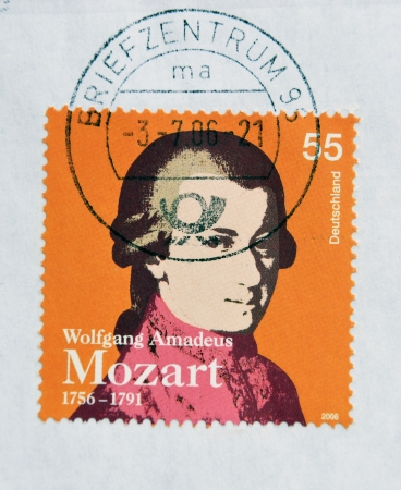 mozart: GERMANY - CIRCA 2006: a stamp printed in Germany shows image of Wolfgang Amadeus Mozart, circa 2006