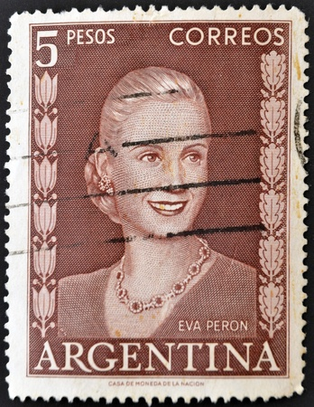 ARGENTINA - CIRCA 1948: A stamp printed in Argentina shows image of a political lider Eva Peron, circa 1948
