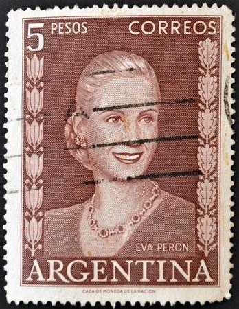 peron: ARGENTINA - CIRCA 1948: A stamp printed in Argentina shows image of a political lider Eva Peron, circa 1948  Editorial