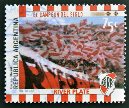 ARGENTINA - CIRCA 1999: A stamp printed in Argentina shows the fans of River Plate, circa 1999