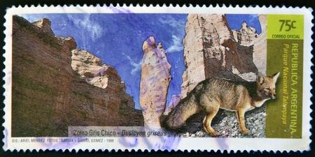 ARGENTINA - CIRCA 1999: A stamp printed in Argentina shows Talampaya National Park and small gray fox, Dusicyon griseus, circa 1999 photo
