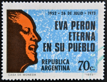 peron: ARGENTINA - CIRCA 1973: A stamp printed in Argentina shows Eva Peron, circa 1973 Editorial