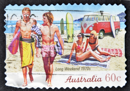 australia stamp: AUSTRALIA - CIRCA 2010: A stamp printed in australia shows long weekend 1970s, circa 2010 Stock Photo