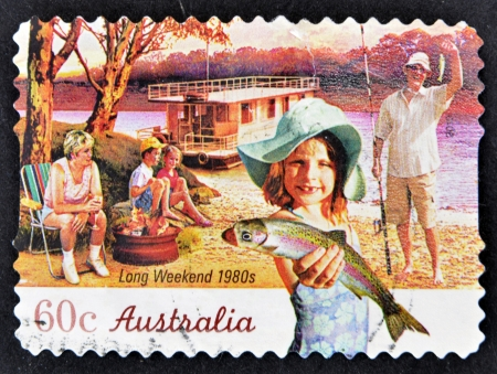 AUSTRALIA - CIRCA 2010: A stamp printed in australia shows long weekend 1980s, circa 2010 Stock Photo - 14678077