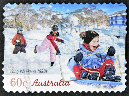 long weekend: AUSTRALIA - CIRCA 2010: A stamp printed in australia shows long weekend 1990s, circa 2010