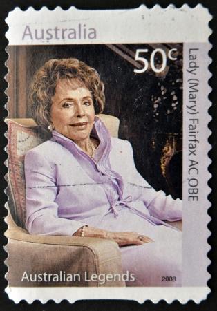 AUSTRALIA - CIRCA 2008: A stamp printed in Australia shows Lady Mary Fairfax AC OBE, circa 2006