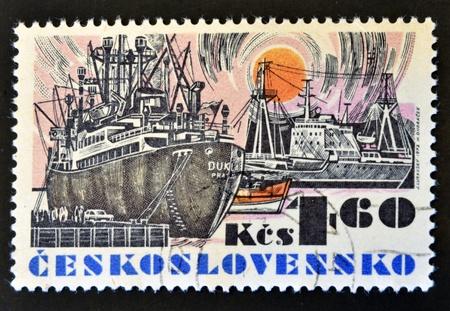 CZECHOSLOVAKIA - CIRCA 1972: A stamp printed in Czechoslovakia shows a ship, circa 1972 Stock Photo - 14678108