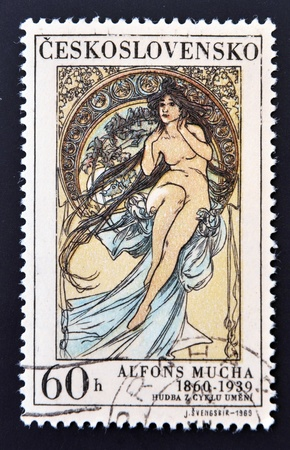 allegory painting: CZECHOSLOVAKIA - CIRCA 1969: A stamp printed in Czechoslovakia shows women allegory Painting by Alfons Mucha, circa 1969