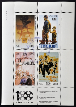 feature films: CHILE - CIRCA 1995: Collection stamps printed in Chile dedicated to cinema, shows Lumiere, Chaplin, commemorative poster and my love Valparaiso, circa 1995
