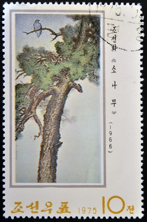 NORTK KOREA - CIRCA 1975  A stamp printed in DPR KOREA shows Chinese Painting, circa 1975   photo
