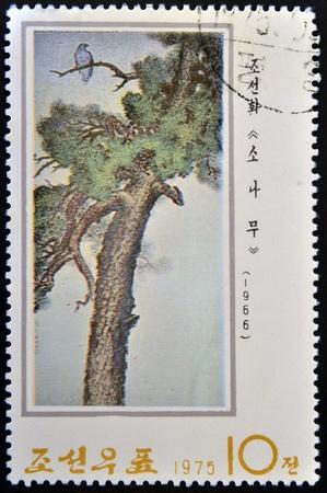 collectible: NORTK KOREA - CIRCA 1975  A stamp printed in DPR KOREA shows Chinese Painting, circa 1975