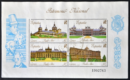 SPAIN - CIRCA 1989  A collection stamps printed in Spain showing four royal palaces and the kings who ordered the construction, circa 1989
