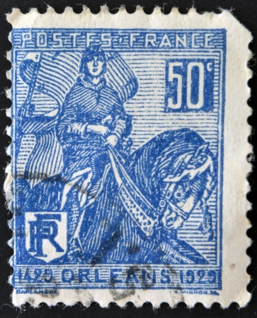 FRANCE - CIRCA 1929: A stamp printed in France shows liberation of Orleans by Joan of Arc, circa 1929 Stock Photo - 14678078