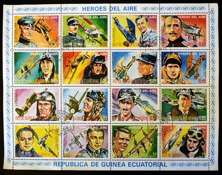 aviators: EQUATORIAL GUINEA - CIRCA 1974: Collection stamps printed in Guinea dedicated to air heroes, historic aviators of the First and Second World War, circa 1974