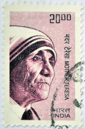 veneration: INDIA - CIRCA 2008: A stamp printed in India shows Mother Teresa of Calcutta, circa 2008  Editorial