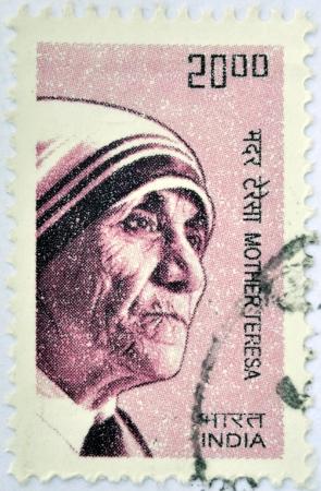 beatification: INDIA - CIRCA 2008: A stamp printed in India shows Mother Teresa of Calcutta, circa 2008  Editorial