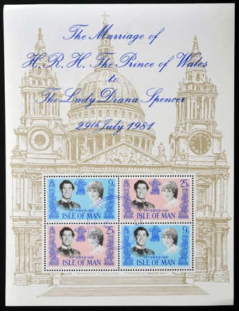 lady diana: ISLE OF MAN - CIRCA 1981:  Stamp celebrating the Royal Wedding of Prince Charles and Lady Diana Spencer, circa 1981
