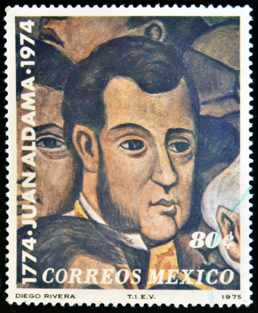 MEXICO - CIRCA 1975: A stamp printed in Mexico shows Juan Aldama portrait by Diego Rivera, circa 1975